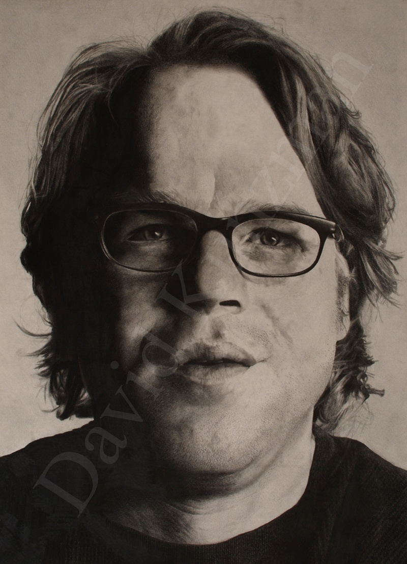 Photorealistic pencil drawing of Philip Seymour Hoffman drawn by David Kunzman.